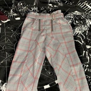 High wasted plaid chinos